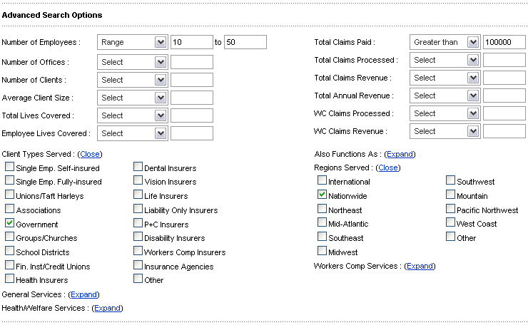 TPA Advanced Search Options